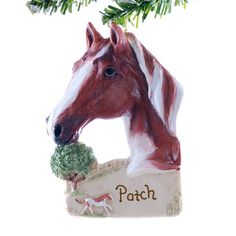 Brown Personalized Horse Christmas Ornament Your Name Written on