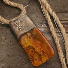 big pendant Baltic amber linen necklace sterling by ewalompe