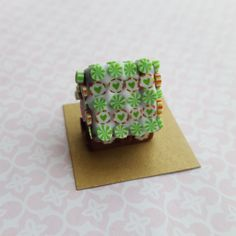 Gingerbread house cake for dollhouse, Christmas,  holiday, seasonal dolls house one inch scale cake by ChapelViewMiniatures on Etsy