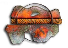 """Montserrat Lacomba Brooch: Landscape with a Hole, 2012 Enameled and oxidized copper and silver 65x90x15 mm From """"Impossible Landscapes"""" Series  Montserrat Lacomba.  © By the author. Read    Klimt02.net Copyright   ."""