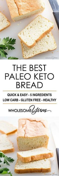 Easy Paleo Keto Bread Recipe - 5 Ingredients - If you want to know how to make the best#paleo#ketobread recipe, this is it! It's quick & easy to make with just 5 basic ingredients.#glutenfree#lowcarbrecipes