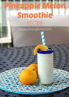 Energizing Pineapple Melon Smoothie Recipe uses whole fruit and cottage cheese for a superfood punch!  http://happystronghome.com/pineapple-melon-smoothie-recipe/?utm_content=buffer223e6&utm_medium=social&utm_source=pinterest.com&utm_campaign=buffer#_a5y_p=4056284
