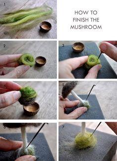 Needle felted mushroom