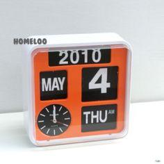 "Fartech Retro Modern 9.5"" Calendar Flip Wall Clock Orange"