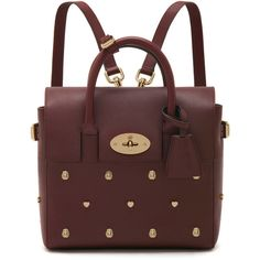 Mini Cara Delevingne Bag with Rivets Oxblood Silky Classic Calf (30 445 ZAR) ❤ liked on Polyvore