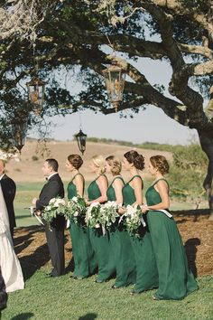 Bridesmaids in Emerald Green Gowns | Carlie Statsky Photography | Classic Hollywood Chic Wedding in Carmel Valley