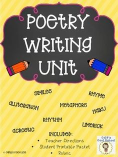 This creative poetry writing unit includes all you need for your students to practice using alliteration, similes, metaphors, rhyme, and rhythm! They will write an acrostic, cinquain, color poem (using similes and metaphors), concrete, creature alliteration, diamante, free verse, haiku, and a limerick.