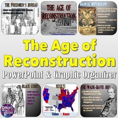 This Reconstruction PowerPoint Lesson is an engaging and visually powerful overview of the period of Reconstruction after the Civil War. The 23 slides feature powerful pictures to engage your visual learners, English-language learners, and special education students, and breaks down simply why Recon... Civil War Activities, History Activities, Teaching Activities, Teaching American History, Teaching History, Middle School History, Powerful Pictures, Powerpoint Lesson, English Language Learners