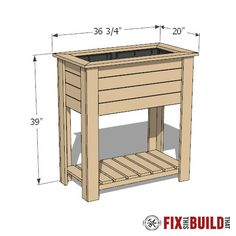 How to build a DIY raised planter box with hidden drainage system. This wooden DIY planter box is easy to build from cedar Video tutorial and plans! Wooden Planter Boxes Diy, Outdoor Planter Boxes, Diy Wood Planters, Planter Box Plans, Raised Planter Boxes, Planter Table, Wooden Diy, Diy Garden Furniture, Diy Outdoor Furniture