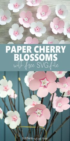 Sweet Cherry Blossom Paper Flowers with Cricut – Sustain My Craft Habit - - Looking for a pretty spring craft to make? These cherry blossom paper flowers are just one of eight different flower crafts to make using your Cricut! Paper Flower Centerpieces, Paper Flowers Craft, Giant Paper Flowers, Flower Crafts, Diy Flowers, Paper Flower Art, How To Make Paper Flowers, Scrapbook Paper Flowers, Potted Flowers
