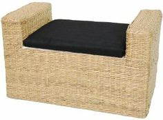 """Oriental Furniture Sustainable Material Furniture and Decor 26-Inch Rush Grass Storage Bench, Natural by ORIENTAL FURNITURE. $88.00. Seat: 26.5w by 14""""d inside: 15""""w by 12""""d by 9""""h, beautiful woven rush grass seat. Part of a distinctive collection of beautiful woven rush grass furnishings. Beautiful rustic weave, rich, deep dye earthy colors. Simple, beautiful woven rush grass window seat, with lined storage area inside. offered in three rich, warm, earth tone colors, part o..."""
