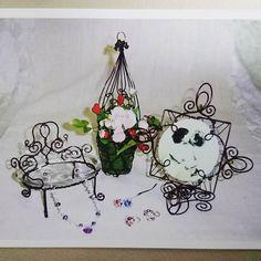 懐かしい作品♪ #ワイヤークラフト #ワイヤーアート #ハンドメイド雑貨 #ハンドメイド #レッスン #習い事 #フラワーベース #フォトスタンド #Wire Art #wire