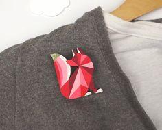Geometric Brooch Fox Red Harlequin Fox par SketchInc sur Etsy, £10,80