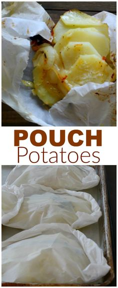 An easy steamy way to cook potatoes. How to cook potatoes in parchment potato pouches. With onions, Swiss Ementhaler cheese and cream, these cheesy pouch potatoes are most certainly a crowd pleasing side dish. via @lannisam