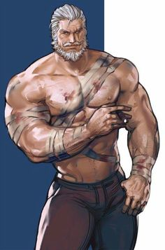 Reinhardt from Overwatch Male Character, Fantasy Character Design, Character Portraits, Character Concept, Character Inspiration, Dungeons And Dragons Characters, Dnd Characters, Fantasy Characters, Nicki Larson