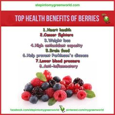 The powerful colors in berries give them their many health benefits. Benefits Of Organic Food, Health Benefits, Health Tips, Benefits Of Berries, Health Chart, Genetically Modified Food, Plant Based Nutrition, Food Nutrition, Healthy Food Options