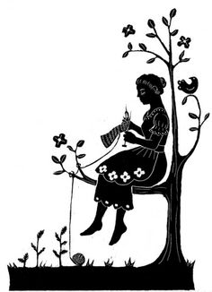 """Scratchboard illustration by Kathleen Jennings. """"For a fairy tale, influenced by a friend who visited, knitted and bought Angela Carter's collection of fairy tales illustrated with woodcuts (and also, I seem to recall, wrote part of her thesis on this fairytale)."""" Cruise her flickr stream! https://www.flickr.com/photos/tanaudel/sets/"""