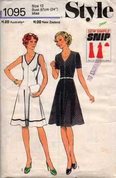 Items similar to Style 1133 Womens Fit & Flare Boho Kawaii Cute Vintage Sewing Pattern Size 10 Bust 32 inches UNCUT Factory Folded on Etsy Vintage Sewing Patterns, Clothing Patterns, Style Patterns, Cute Dresses, Vintage Dresses, Make Your Own Clothes, Jacket Pattern, Fashion Sewing, Fit Flare Dress