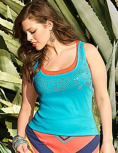 Our classic ribbed tank puts on the glitz with a studded front for sparkling style all season. Soft cotton keeps you cool, and lends itself to endless ensembles worn alone or layered. Scoop neckline. lanebryant.com