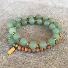 Aventurine is linked to the heart chakra, and is said to bring good luck to the wearer. #malas #green