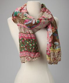 Take a look at this Green & Pink Floral Scarf by Nino Puccioni on #zulily today!