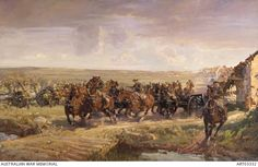 Saving the guns at Robecq.Batteries of Australian Field Artillery Brigade withdrawing at the gallop in face of approaching German troops at Calonne; German offensive March-April Battle of the Lys, Western Front. by H Septimus Power Military Art, Military History, Royal Horse Artillery, Ww1 Art, War Film, Film Inspiration, World War One, Troops, Egypt