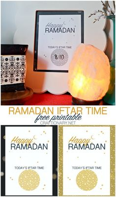 Happy ramadan iftar time printable you can dry erase is free printable. You can print & frame for iftari at home. Eid Crafts, Ramadan Crafts, Ramadan Decorations, Ramadan Iftar Time, Craft Activities, Stars And Moon, Constellations, Free Printables, Diy Projects