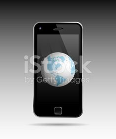 Globe In Mobile Phone royalty-free stock vector art