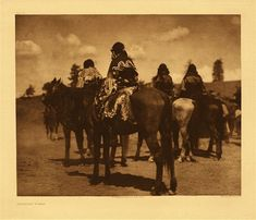 "Jicarilla Women, 1904.  Photogravure.  Curtis Caption:  ""Women watching the races on their annual ceremonial or feast day. It will be observed that they are all dressed uniformly in garments cut after the primitive mode."""