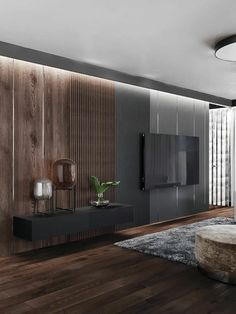 This accent lighting helps establish the wall as a focal point. It may help with practical things but it is mainly to draw attention to the wall. Modern Bedroom Design, Home Interior Design, Interior Architecture, Living Room Modern, Home Living Room, Tv Wall Design, House Design, Living Room Tv Unit Designs, Bedroom Tv Unit Design