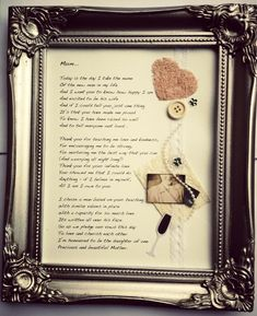 MOTHER OF THE BRIDE framed poem, created by Only Fools and Flutterbyes, an ideal gift from the Bride for her mother on her wedding day.  £32 inclusive of frame and postage. Can also be personalised on request. To order or enquire email amy@onlyfoolsandflutterbyes.com xx
