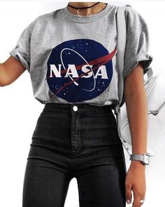 Cute outfits - Nasa graphic tee with high rise black jeans Visit Daily Dress Me at dailydressme com for more inspiration women's fashion fall fashion, winter fashion, casual outfits, school Tumblr Outfits, Mode Outfits, Tumblr Clothes, Party Outfits, Teen Fashion Outfits, Outfits For Teens, Fashion Clothes, Fashion Women, Fashion Fashion