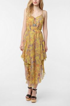 Bits And Pieces Asymmetrical Maxi Dress  #UrbanOutfitters