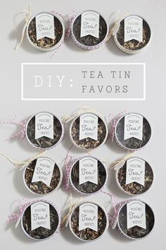 Use empty window tea tins to create these DIY bridal shower or wedding favours.