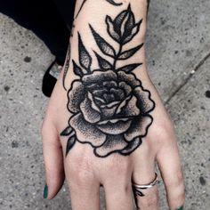 fuckyeahhandtattoos: Mike Adams - Canvas For Ink Rose Hand Tattoo, Hand Tats, Rose Tat, Life Tattoos, Body Art Tattoos, Sleeve Tattoos, Photomontage, Black Tattoos, Small Tattoos
