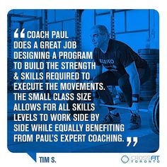 Here's what Gentle Giant Tim has to say about Coach Paul's Weightlifting Program: The Olympic Lifts are very technical movements that can be very challenging to learn. Coach Paul does a great job to design a program to build the necessary functional strength mobility and skills required to effectively execute the movements while slowly and safely over time increasing the weight amounts lifted. The small class size and format allows for all skills levels to work side by side while equally…