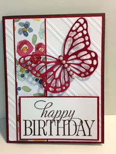 Happy Birthday, Everyone, Butterfly Birthday Card, Stampin' Up!, Rubber…