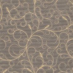 Alexandria (9191) - Albany Wallpapers - An elegant, large scale textured vinyl wallcovering featuring a trailing design with leaves. Shown here in gold on chocolate brown. Other colourways are available. Please request a sample for a true colour match.