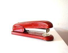 Vintage Red Metal German Stapler / Vintage Novus 53 Red