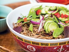 Soba Salad with Marinated Cucumber and Ponzu - Instead of the cookout-classic pasta salad, chef Chris Shepherd of Houston's Underbelly serves this Asian noodle dish zipped up with crunchy vegetables. Soba Salad, Pasta Salad, Noodle Salad, Noodle Dish, Cucumber Salad, Cucumber Recipes, Noodle Bowls, Recipes With Fish Sauce, Noodle Recipes