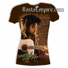 """This chocolate tee showcases Bob Marley playing the guitar and the lyrics """"Is This Love that I'm Feeling"""" printed along the side. Bob Marley's signature  is printed in rasta color script at the bottom."""