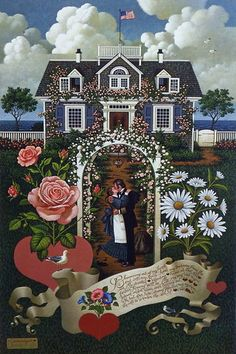 The wayfaring sailor has finally returned home to the love of his life. Charles Wysocki's print HOME IS MY SAILOR is a wonderful Valentine image. Through wind and wave and storm, the sea captain has j