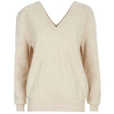 Victoria Beckham Soft Double V Sweater ($1,005) ❤ liked on Polyvore featuring tops, sweaters, layered tops, victoria beckham, deep v neck top, slouch sweater and layered sweater