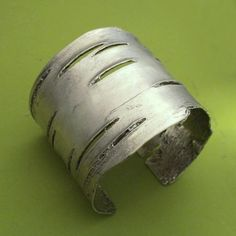 Birch Bark Cuff Bracelet in Sterling Silver by esdesigns on Etsy, $320.00