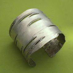 Birch Bark Cuff Bracelet in Sterling Silver by esdesigns on Etsy, $320.00