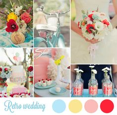 50s wedding in inspiration board - pink, blue and red wedding / Color combo / color combinations