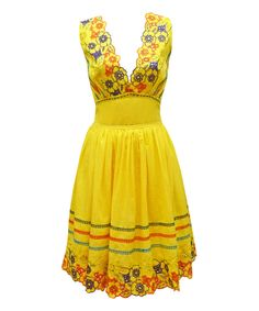 Look at this #zulilyfind! Nick & Mo Yellow Floral Brazil Dress by Nick & Mo #zulilyfinds