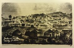 Jackson, California postcard from mid 1940's of and earlier drawing.
