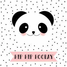 Zwart/wit kaartje met stipjes en een schattige panda. Leuk om te sturen als felicitatie, maar ook als uitnodiging, verkrijgbaar bij #kaartje2go voor € 1,79