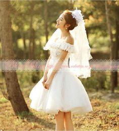 ウェディングドレスミニ・パーティードレス・二次会ドレス・エンパイアドレス・ショートドレス可愛い~♪ウエディングドレスミニドレス二次会用ドレス